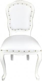 Casa Padrino Luxus Barock Esszimmer Set Weiß / Weiß 55 x 54 x H. 103 cm - 6 handgefertigte Esszimmerstühle mit Kunstleder - Barock Esszimmermöbel - Vorschau 2