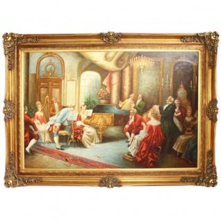 Riesiges Handgemaltes Barock Öl Gemälde Abend mit Klassischer Musik Gold Prunk Rahmen 225 x 165 x 10 cm - Massives Material