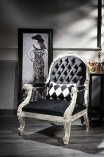 Casa Padrino Luxus Barock Sessel Schwarz / Antik Silber 80 x 84 x H. 115 cm - Wohnzimmer Sessel im Barockstil - Barock Wohnzimmer Möbel