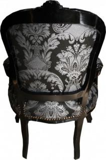 Casa Padrino Barock Salon Stuhl Schwarz Muster / Schwarz - Antik Stil Möbel - Vorschau 3