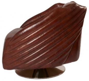 Casa Padrino Luxus Drehsessel Dunkelbraun / Silber 69 x 97 x H. 79 cm - Echtleder Sessel im Art Deco Design - Vorschau 3
