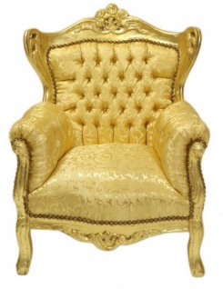Casa Padrino Barock Kinder Sessel Gold Muster / Gold - Möbel