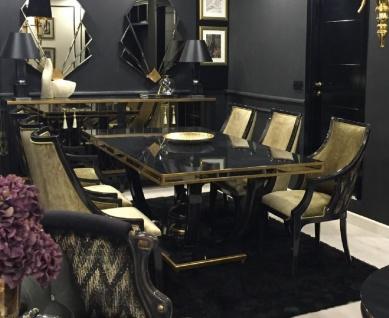Casa Padrino Luxus Barock Esszimmer Set Gold / Schwarz - 1 Esstisch & 6 Esszimmerstühle - Edle Esszimmer Möbel im Barockstil - Luxus Qualität