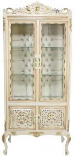 Casa Padrino Barock Vitrine Cremefarben / Beige / Gold 100 x 40 x H. 170 cm - Prunkvoller Barock Vitrinenschrank mit 2 Glastüren wunderschönen Verzierungen und Glitzersteinen