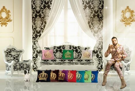 Harald Glööckler Designer Zierkissen 50 x 50 cm Krone mit Pailletten Grün/Gold + Casa Padrino Luxus Barock Bleistift mit Kronendesign - Vorschau 3