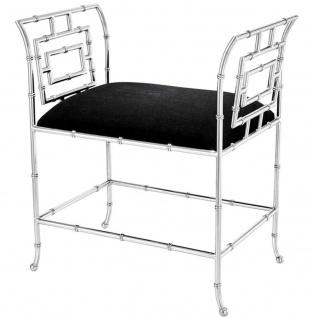 Casa Padrino Luxus Sitzbank Silber / Schwarz 66 x 42 x H. 73 cm - Luxus Möbel