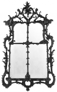 Casa Padrino Luxus Barockstil Wohnzimmer Wandspiegel Schwarz 102 x H. 174 cm - Limited Edition