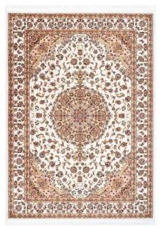 Casa Padrino Teppich mit orientalischen Ornamenten Cremefarben / Mehrfarbig - Verschiedene Größen - Wohnzimmer Teppich