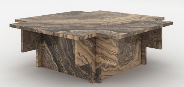 Casa Padrino Luxus Marmor Couchtisch Beige / Grau / Schwarz 95 x 95 x H. 35 cm - Edler Wohnzimmertisch aus hochwertigem Eramosa Marmor - Luxus Wohnzimmer Möbel