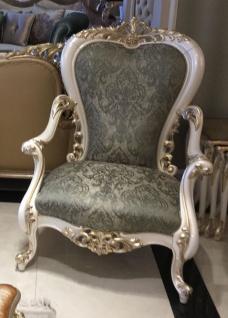 Casa Padrino Luxus Barock Sessel Grün / Weiß / Gold - Handgefertigter Wohnzimmer Sessel mit elegantem Muster - Barock Wohnzimmer Möbel - Edel & Prunkvoll