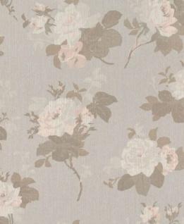Casa Padrino Barock Textiltapete Grau / Braun / Rosa 10, 05 x 0, 53 m - Tapete mit Blumenmuster