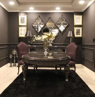Casa Padrino Luxus Barock Esszimmer Set Lila / Grau / Schwarz / Silber - 1 Esstisch & 6 Esszimmerstühle - Esszimmer Möbel im Barockstil - Edle Barock Möbel
