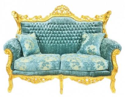 Casa Padrino Barock Wohnzimmer Set Master Türkis-Blau Muster Samtstoff / Gold - 2er Sofa + 2 Sessel - Limited Edition! - Vorschau 2