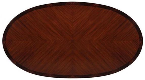 Casa Padrino Luxus Barock Esstisch Dunkelbraun / Weiß / Gold 207 x 114 x H. 78 cm - Ovaler Mahagoni Küchentisch - Barock Esszimmer Möbel - Luxus Qualität - Vorschau 2