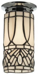 Casa Padrino Luxus Tiffany Deckenleuchte Weiß / Schwarz / Silber Ø 10 x H. 21 cm - Runde Deckenlampe - Deko Accessoires