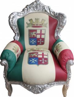 Casa Padrino Barock Sessel King Italien / Silber - Antik Stil Möbel - Unikat