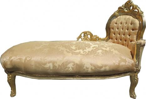 Casa Padrino Barock Chaiselongue Gold Muster / Gold Mod2 - Barock Möbel