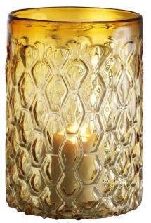 Casa Padrino Luxus Glas Kerzenleuchter Gelb Ø 20 x H. 28 cm - Hotel & Restaurant Deko Accessoires