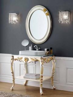 Casa Padrino Luxus Barock Badezimmer Set Silber / Gold - 1 Waschtisch & 1 Wandspiegel - Badezimmer Möbel im Barockstil - Edel & Prunkvoll
