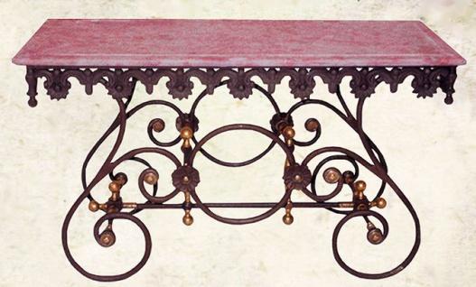 Casa Padrino Nostalgie Gartentisch aus Schmiedeeisen mit weißer Marmorplatte - 135 cm x 55 cm x H70 cm - Luxus Gartenmöbel