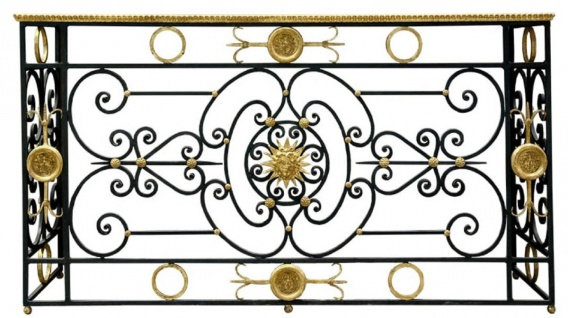 Casa Padrino Luxus Barock Konsole Weiß / Schwarz / Antik Gold 172 x 51 x H. 95 cm - Barockmöbel