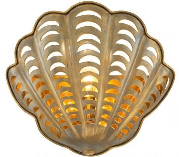 Casa Padrino Luxus Wandleuchte Vintage Messingfarben 37 x 14 x H. 34 cm - Edle Wandlampe in Muschelform - Luxus Qualität