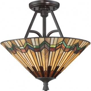 Casa Padrino Luxus Tiffany Deckenleuchte Mehrfarbig Ø 40, 6 x H. 38, 1 cm - Runde Tiffany Lampe mit handgefertigtem Glas Lampenschirm