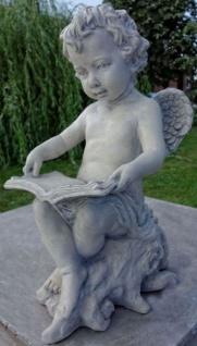 Casa Padrino Jugendstil Skulptur Engel mit Buch 18 x H. 40 cm - Gartendeko Figur - Special!
