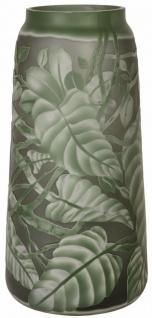 Casa Padrino Luxus Cameoglas Deko Vase / Blumenvase Blätter Grün Ø 17, 6 x H. 36 cm - Wohnzimmer Dekoration