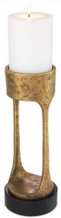 Casa Padrino Luxus Kerzenhalter Vintage Messingfarben / Schwarz Ø 13 x H. 35 cm - Messing Kerzenständer mit Granitsockel - Deko Accessoires