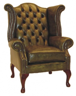 Casa Padrino Echtleder Sessel Vintage Grün - Luxus Wohnzimmer Ohrensessel Möbel Leder Sessel