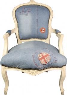 Casa Padrino Barock Salon Stuhl Jeans Optik / Creme Mod2 - Limited Edition