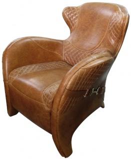 Casa Padrino Luxus Art Deco Echtleder Sessel Braun 79 x 85 x H. 85 cm - Luxus Kollektion