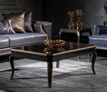 Casa Padrino Luxus Barock Couchtisch Schwarz / Gold - Eleganter Wohnzimmertisch im Barockstil - Handgefertigter Massivholz Tisch - Barock Wohnzimmer Möbel