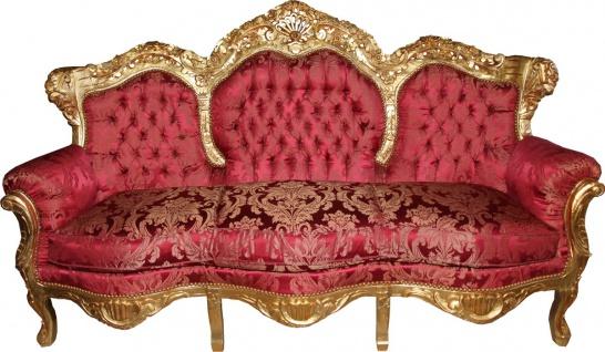 Casa Padrino Barock 3er Sofa Lord Bordeaux Barock Muster Gold