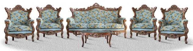 Casa Padrino Barock Sofa Set 3er Sofa 4 Sessel und Tisch mit Glasplatte - Antik Sofa Set