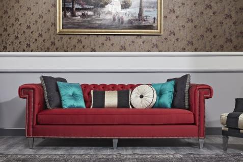 Casa Padrino Luxus Barock Chesterfield Sofa Rot / Silber 249 x 102 x H. 81 cm - Chesterfield Wohnzimmermöbel