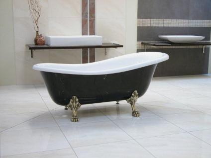 Freistehende Luxus Badewanne Jugendstil Roma Schwarz/Weiß/Altgold 1470mm - Barock Antik Badezimmer - Vorschau 4