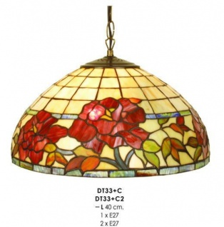 Casa Padrino Tiffany Pendelleuchte Durchmesser 40 cm DT33+C1/C2 Leuchte Lampe