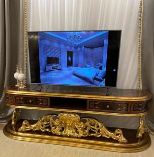 Casa Padrino Luxus Barock TV Schrank Braun / Antik Gold 220 x 50 x H. 70 cm - Prunkvoller Massivholz Fernsehschrank - Barock Wohnzimmer Möbel