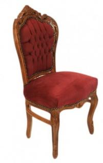 Casa Padrino Barock Esszimmer Stuhl Bordeaux / Braun - Antik Möbel - Vorschau 2