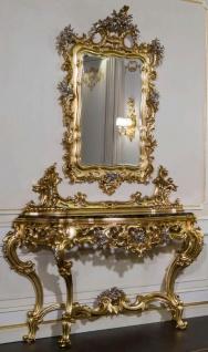 Casa Padrino Luxus Barock Möbel Set Konsole mit Spiegel Gold / Silber / Schwarz - Prunkvoller handgeschnitzter Konsolentisch mit Wandspiegel - Hotel Möbel - Schloss Möbel - Luxus Qualität - Made in Italy