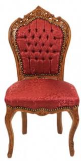 Casa Padrino Barock Esszimmer Stuhl Bordeaux Muster / Braun - Antik Möbel