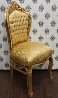 Casa Padrino Barock Esszimmer Stuhl Gold Muster / Gold - Antik Stil Barock Möbel