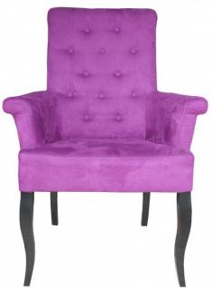 Casa Padrino Luxus Esszimmer Stuhl Lila / Schwarz mit Armlehnen - Barock Möbel
