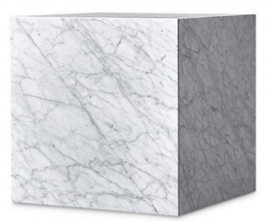 Casa Padrino Luxus Beistelltisch Weiß 48 x 48 x H. 55 cm - Quadratischer Wohnzimmertisch aus Carrara Marmor - Marmortisch - Luxus Qualität