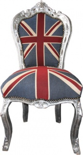 Casa Padrino Barock Esszimmer Stuhl Union Jack / Silber - England Stuhl - Englische Flagge