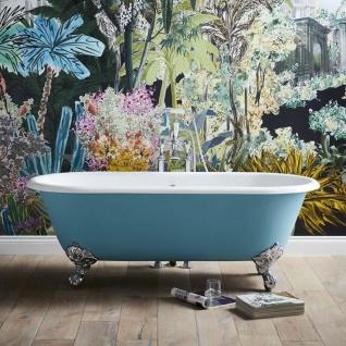 Casa Padrino Luxus Gusseisen Badewanne Türkis / Weiß 178 cm - Gebogene freistehende Badewanne - Barock & Jugendstil Badezimmer Möbel