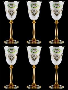 Casa Padrino Luxus Barock Likörglas 6er Set Weiß / Mehrfarbig / Gold Ø 5, 5 x H. 17 cm - Handgefertigte und handbemalte Likörgläser - Hotel & Restaurant Accessoires - Luxus Qualität