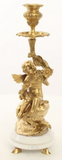 Casa Padrino Jugendstil Kerzenhalter Set Gold / Weiß 13, 8 x 13, 8 x H. 39, 5 cm - Barock & Jugendstil Möbel